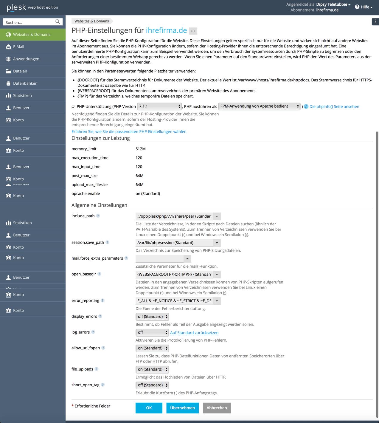 Plesk php ändern