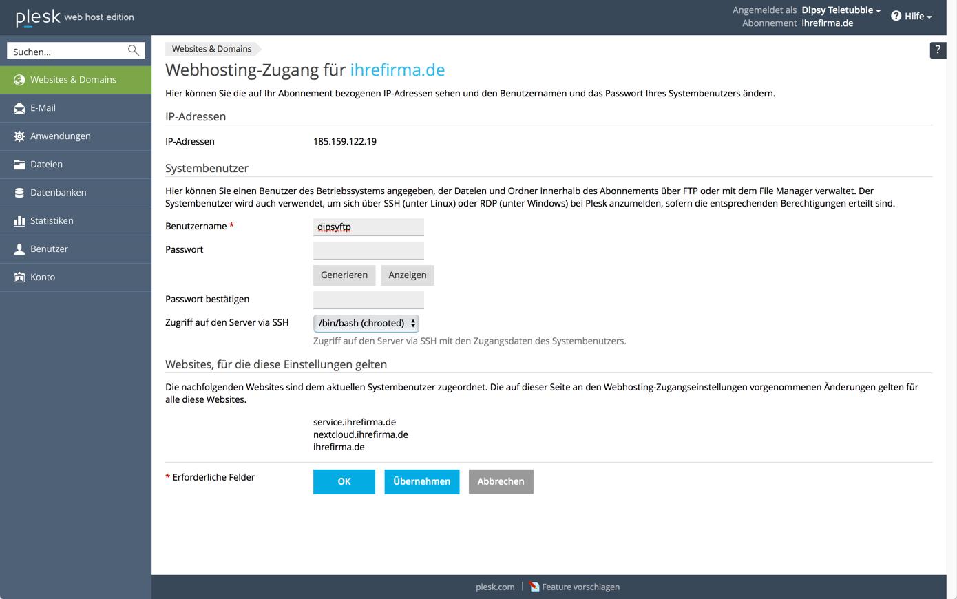 plesk_webhosting_zugang_ssh