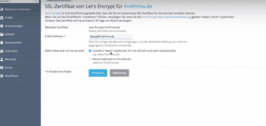 Plesk Letsencrypt Zertifikat erstellen - webhosting