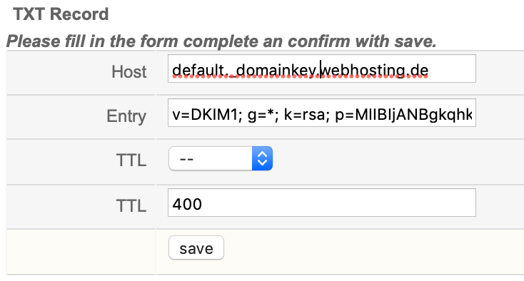 Imposta la voce DNS DKIM