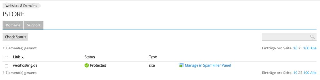 Gateway di protezione spam Plesk attivo