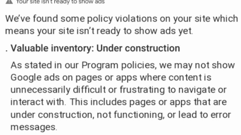 Google Adsense Fehler: Valuable inventory